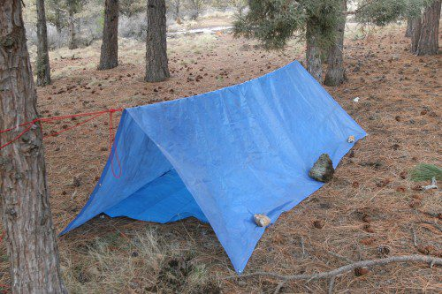 Emergency Shelter from light weight tarp