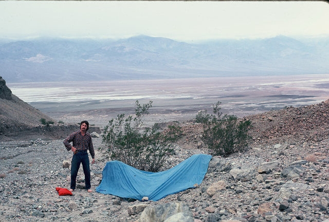 """Leon and hiking partner John Nerness pitched their tarp in this Death Valley """"forest"""" during Christmas of 1977."""