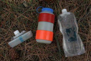 Nalgene and platypus water bottles for wilderness survival
