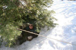 Troop 18 Scoutmater Phil Brummett made a great tree well shelter, which I was happy to inspect!