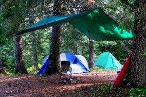 This well-pitched tarp over the campfire area allowed us to cook safely and comfortably even while it rained.
