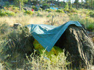This shelter used natural materials, a tarp and Les Schwab tire bags.