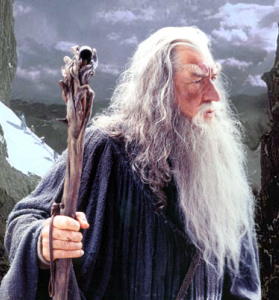 Gandalf and and his walking staff were part of the Lord of the Rings saga.