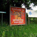 Omaha rez sign: Macy, Nebraska, home of the Omahas