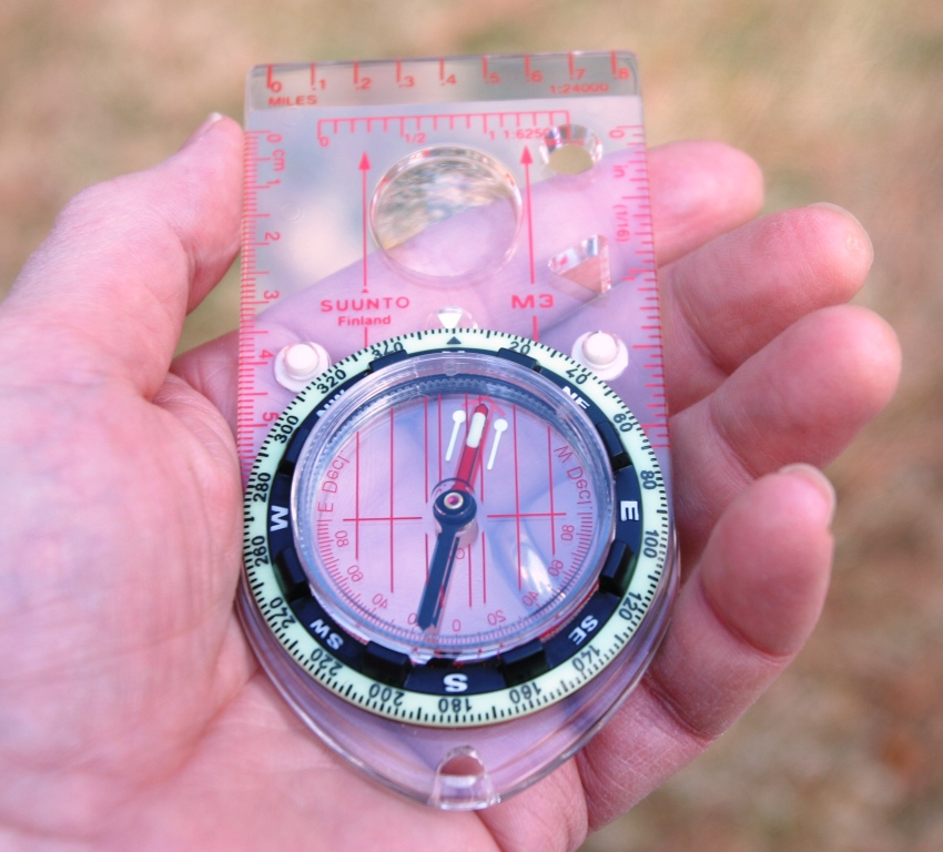 This compass is adjusted for declination. (Pantenburg photo)