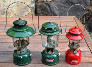 These two green Coleman gas lanterns were salvaged, and the red one cost five dollars at a thrift store. They all work well after a good cleaning. (Pantenburg photos)