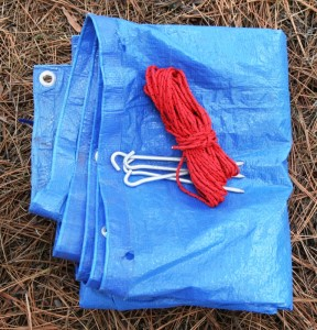Aluminum tent stakes weigh virtually nothing. Combined with a tarp, and about 25 feet of paracord, the items can be made into an effective emergency shelter.