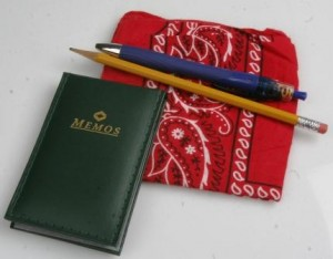 The memo book is the base for a hip pocket notebook. Along with the writing implements and a bandana, this is a group of everyday carry items. (Pantenburg photo)