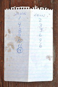 The 30-year old note shows my canoeing partner, John Nerness, finished next to last, while I took second place in this Pitch game.