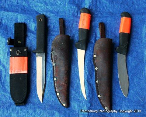 From left: Cold Steel SRK, Forschner six-inch boning knife and Forschner five-inch sheep skinner