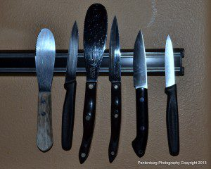 The Bird and Trout knife, second from right, works really well as a paring knife in the kitchen.