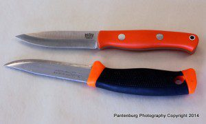 The Bark River Liten Bror, top, is a Scandinavian-design bushcraft knife. It is very similar to my long-used, sometimes abused Mora 860.