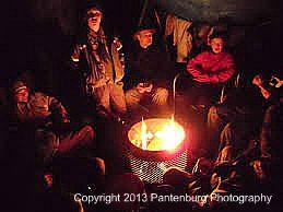 campfire in rain