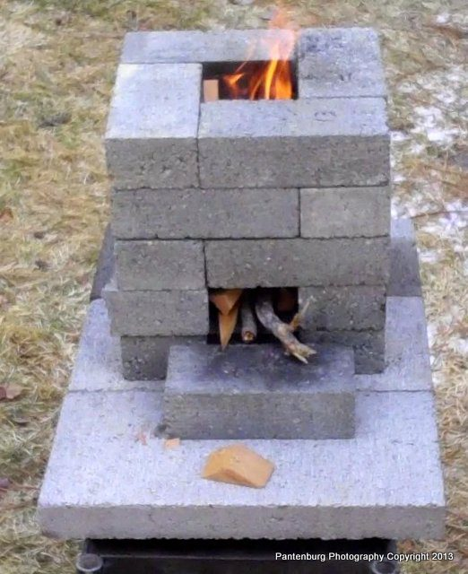 Build a brick rocket stove: Is it safe to use concrete blocks ...