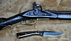 Lon Humphrey Sterling knife with flintlock rifle