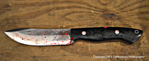 The micarta handle on this Bark River Kalahari never got slippery, even when covered with blood.