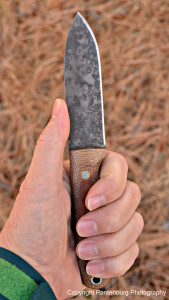 The patina helps protect the carbon steel blade.