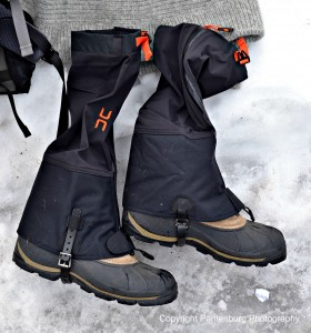 These gaiters are preferred - they have adjustable instep buckles, front zippers, and zip closed from top to bottom.