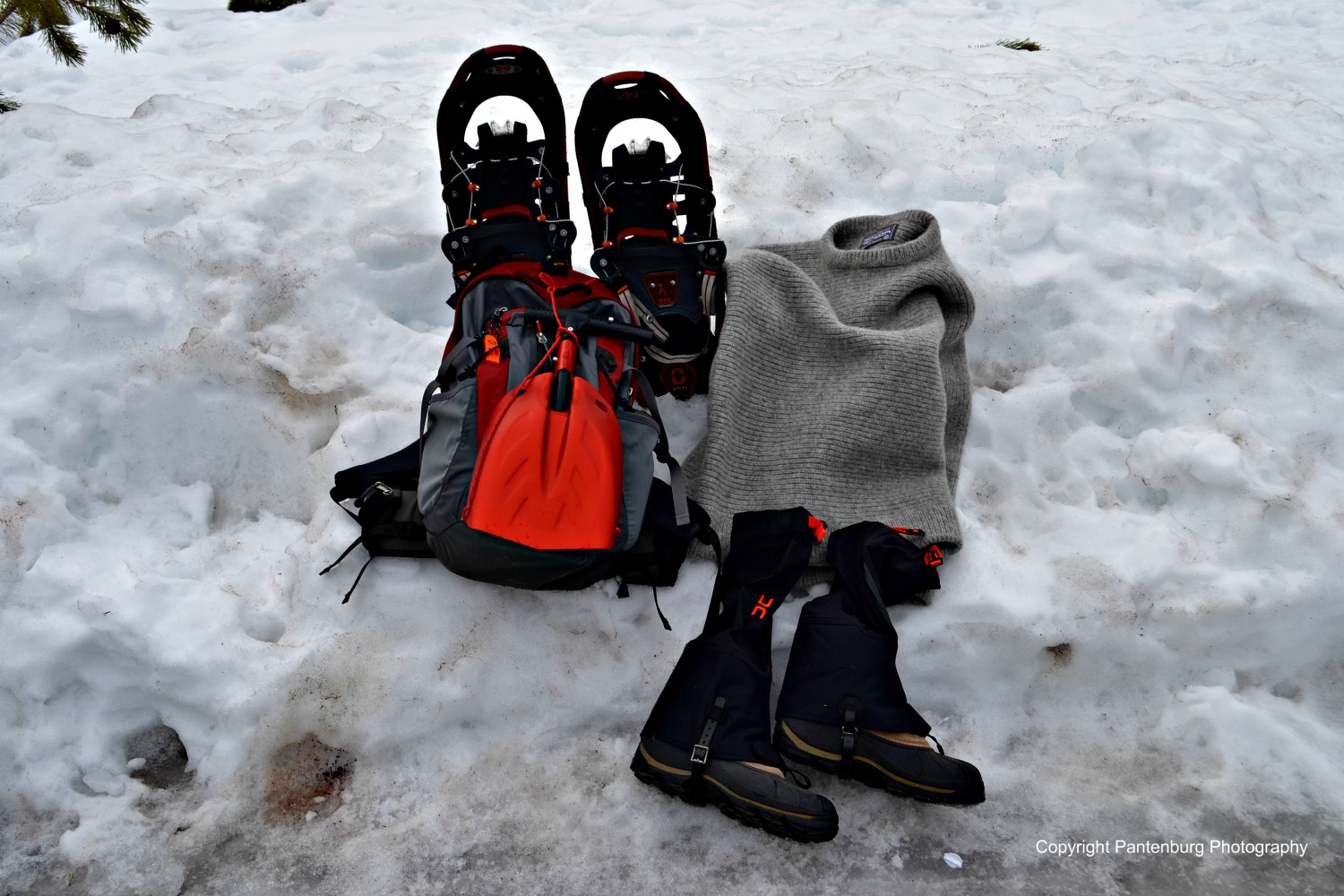 Gaiters are an integral part of snowshoeing equipment.