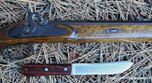 This replica of a Hawken rifle and the Mountain Man knife fit together really well.
