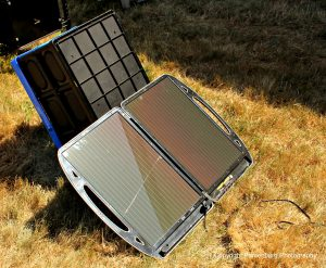 This solar panel easily powered the Super Dragon electric fan.