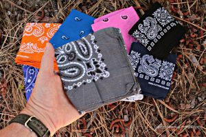 Bandanna colors can represent many things: This grey bandanna shows support for brain cancer research