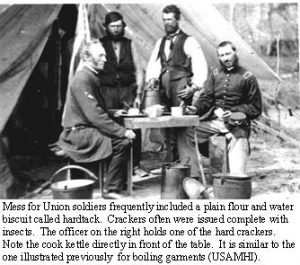 Hardtack was a staple of military rations during the Civil War.