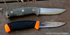 The Feather Stick, top, is based on the time- tested, classic Scandinavian design, exemplified by the Mora 840 Companion