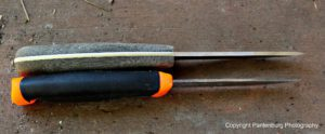 The Feather Stick, top, has a 1/8-inch thick blade, and the spine is sharpened at a 90-degree angle.