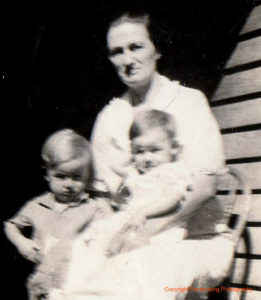My grandmother Sophie Wirth, with my Aunt Irene and Uncle Eldon, probably in the middle 1930s.