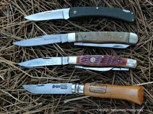 These folders (from top) Bucklite, Winchester Trapper, Puma Bird Hunter and Opinel have all worked well as small game knives.