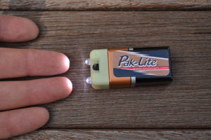 The Pak-Lite has two LEDs and is powered by one nine-volt battery.