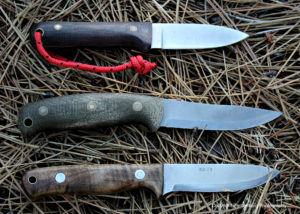The L.T. Wright Next Gen, top, Battle Horse Knives Feather Stick and C.T. Fischer bushcraft make excellent small game knives.
