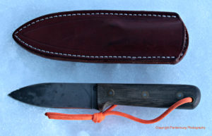 This Bark River leather sheat was wet formed to make a more authentic-looking sheath.
