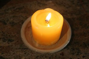 A single candle may provide enough lighting in some power outage situations. Check out thrift stores and garage sales for good deals. (Pantenburg photo)