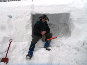 I was able to quickly excavate this snow cave, using a piece of plexiglass and a small shovel. There was plenty of room for another person to work at the same time.