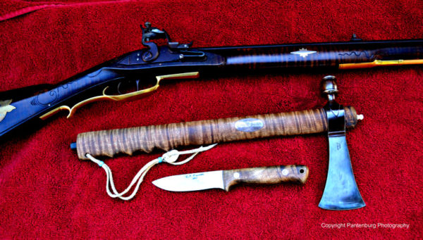 flintlock, tomahawk and knife, Mora knife