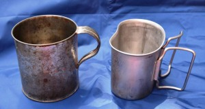 This Civil War replica and WWII canteen cup are very useful survival kit items.