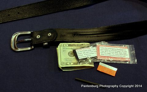This standard money belt with zipper can carry several survival tools.