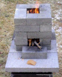 brick rocket stove, cast iron cooking