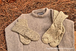 The Dechstein 100 percent wool mittens, sweater and socks are durable, effective choices for cold weather wear.