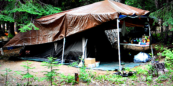 tarp and tent at Cultus Lake