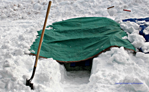 snow trench tarp shelter