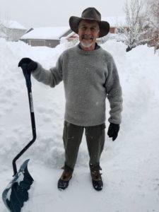 dachstein sweater, leon, snow shoveling