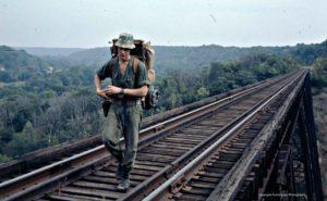 leon on bridge. backpacking